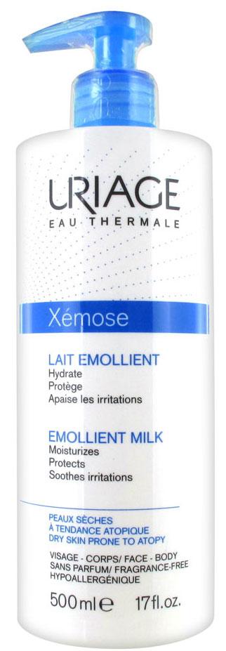 Uriage Молочко-эмольянт для ухода за кожей Xemose, 500 млU05909Uriage Xemose Emollient Milk - легкое молочко для ухода за сухой и очень сухой кожей, а так же для кожи, склонной к атопии. Содержит запатентованные комплексы TLR2- Regul и Cerasterol-2F.Поддерживает баланс микрофлоры на поверхности кожи ( комплекс TLR-2 regul и термальная вода Урьяж). Восстанавливает и укрепляет кожный барьер ( комплекс Церастерол – 2 F и термальная вода Урьяж). Масло ши питает, увлажняет, смягчает и заживляет кожу; Масло огуречника устраняет шероховатость и стянутость кожи, успокаивает зуд; Лимонная кислота отшелушивает чешуйки; Диметикон придает коже гладкость и шелковистость, помогает ей сохранять влагу, защищает от внешних воздействий.Для новорожденных, детей и взрослых. Лицо, тело.