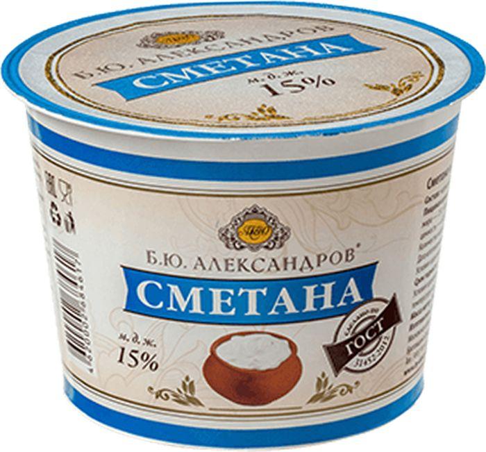 Б.Ю. Александров Сметана 15%, 230 г вафли обожайка вкус сливки 225 г