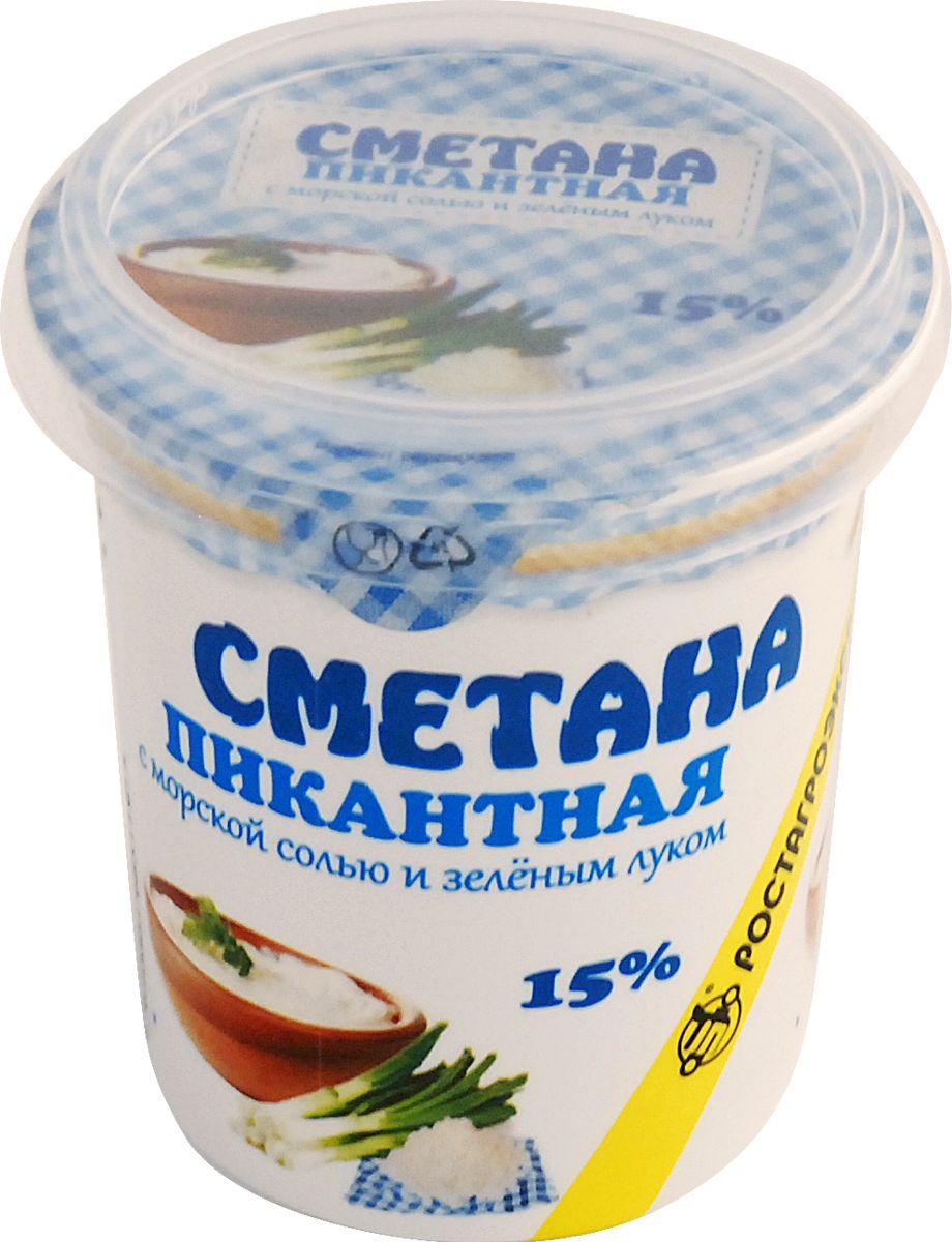 Ростагроэкспорт Сметана пикантная с Морской солью и зеленым Луком 15%, 180 г ростагроэкспорт желе ананас 125 г