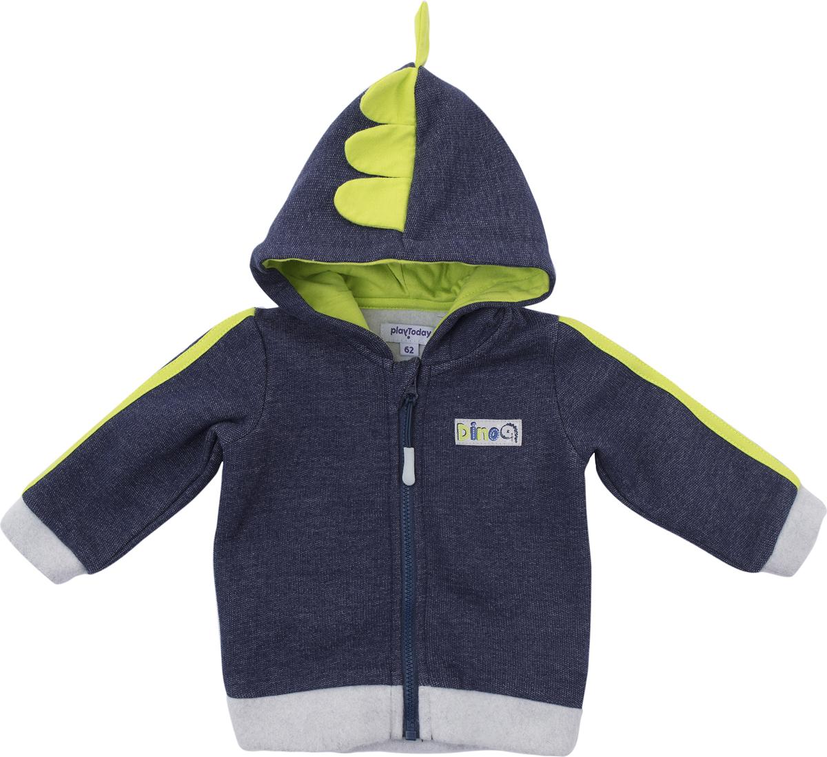 Толстовка для мальчика PlayToday, цвет: синий, серый, зеленый. 187810. Размер 74187810Толстовка PlayToday выполнена из натуральной хлопковой ткани. Модель с капюшоном и длинными рукавами застегивается на застежку-молнию.