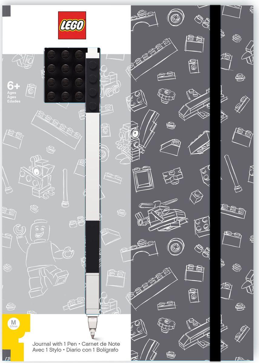 Записная книжка LEGO, 96 листов в линейку, с черной гелевой ручкой, цвет: черный, серый lego batman movie блокнот бэтмен96 листов в линейку