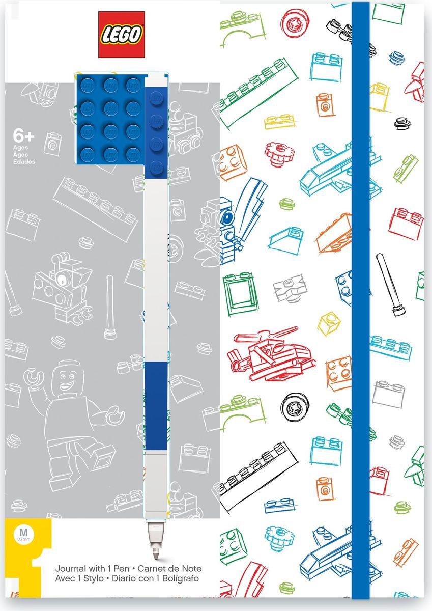 Записная книжка LEGO, 96 листов в линейку, с синей гелевой ручкой, цвет: белый, синий ручки lego гелевая ручка lego цвет синий