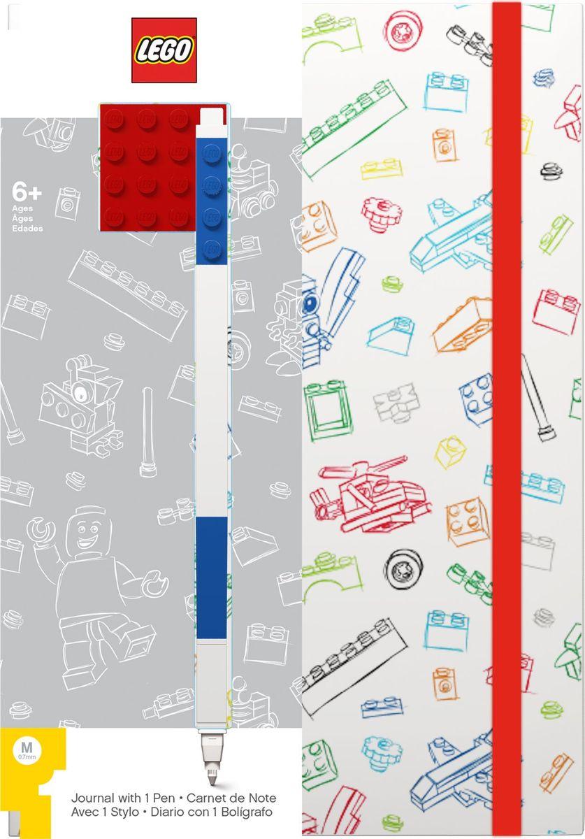 Записная книжка LEGO, 96 листов в линейку, с синей гелевой ручкой, цвет: белый, красный ручки lego гелевая ручка lego цвет синий