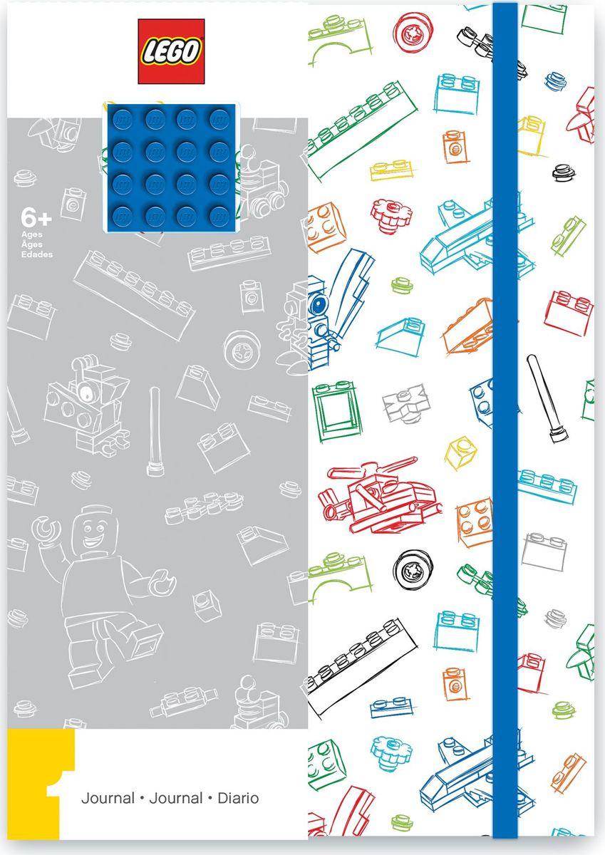Записная книжка LEGO, 96 листов в линейку, с резинкой, цвет: белый, синий lego batman movie блокнот бэтмен96 листов в линейку
