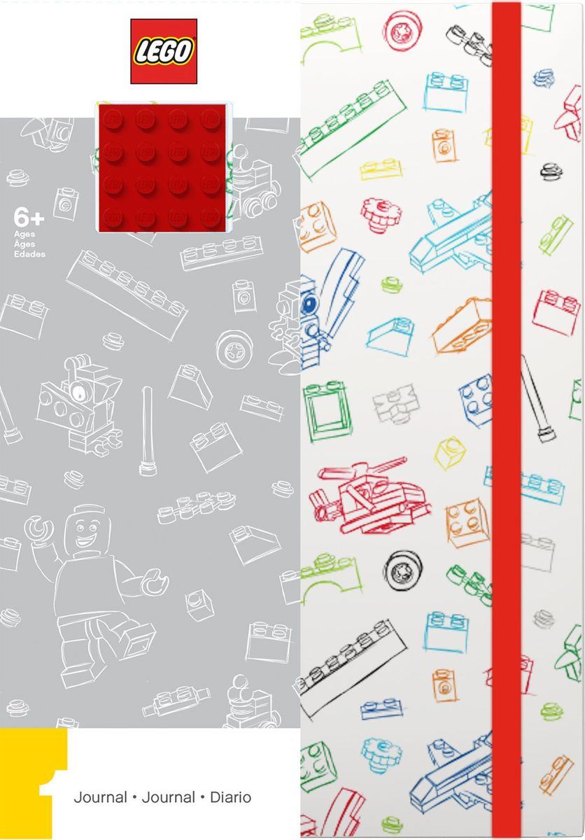 Записная книжка LEGO, 96 листов в линейку, с резинкой, цвет: белый, красный lego batman movie блокнот бэтмен96 листов в линейку