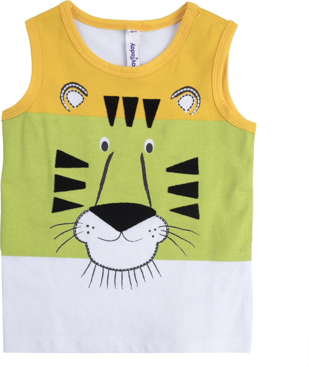 Майка для мальчика PlayToday, цвет: белый, желтый, зеленый. 187068. Размер 80 брюки для девочек playtoday 148076 р 74 80 см цвет зеленый