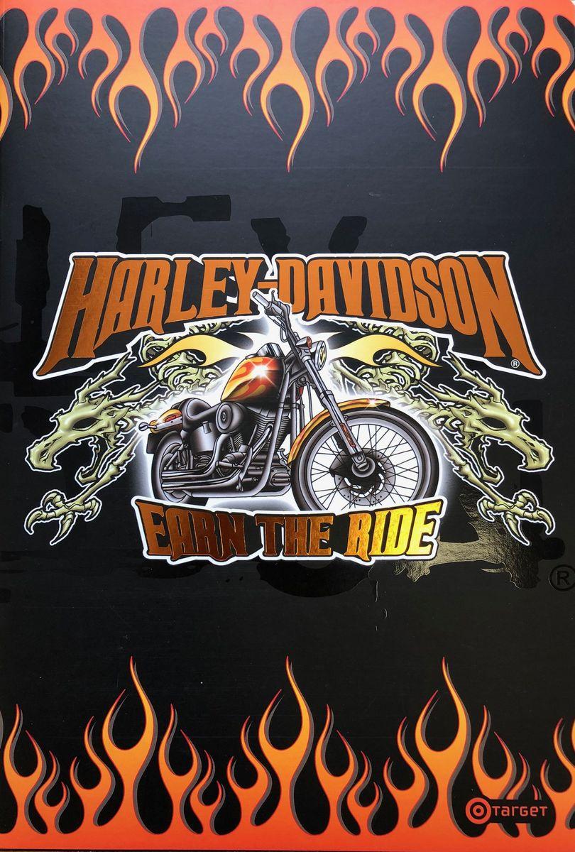 Harley-Davidson Тетрадь Огонь 52 листа без разметки цвет черный формат А410-1697_огоньТетрадь А4, 210*297, 52 стр, не разчерченная - Harley-Davidson, цвет: черный, огонь