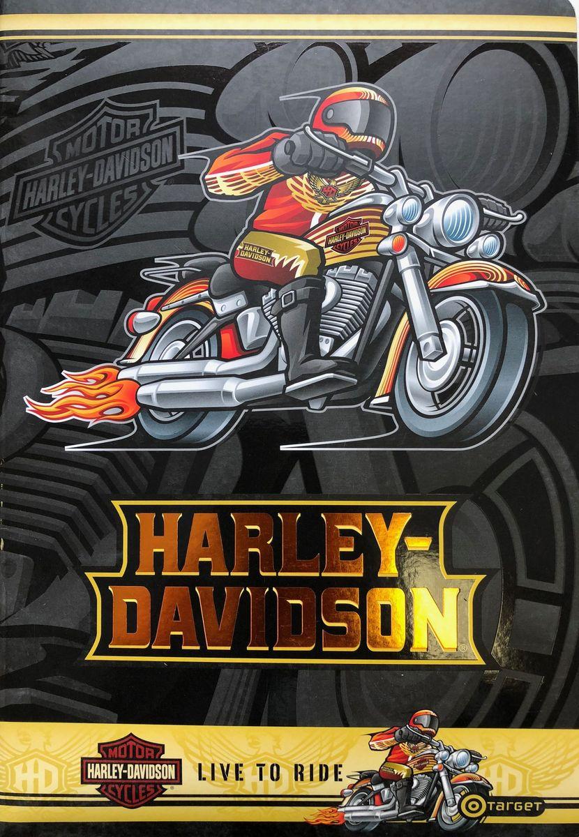 Harley-Davidson Тетрадь Гонщик 52 листа без разметки формат А410-1697_гонщикТетрадь А4, 210*297, 52 стр, не разчерченная - Harley-Davidson, цвет: чёрный, гонщик