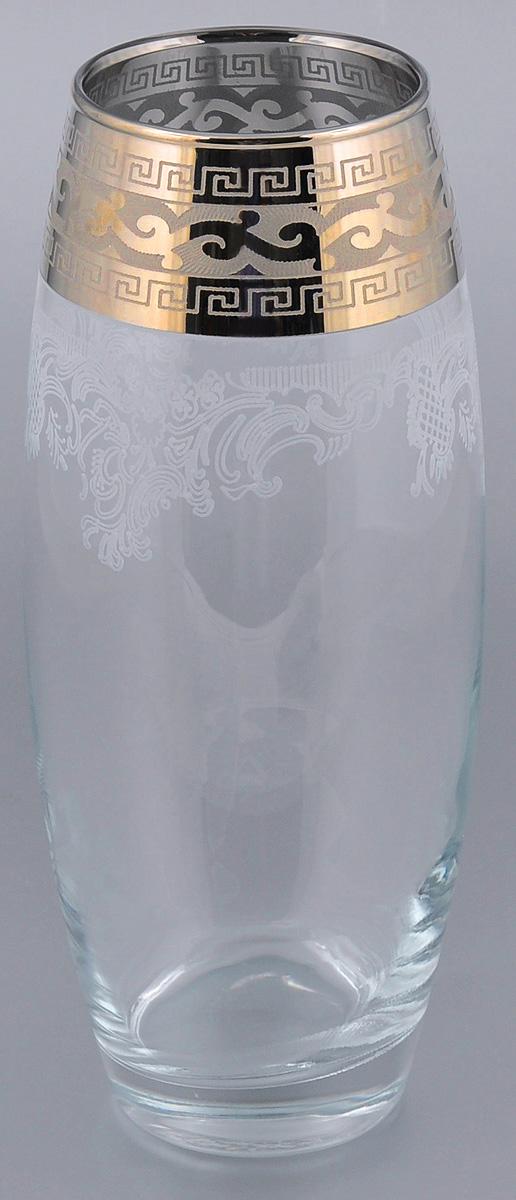 """Ваза Гусь-Хрустальный """"Версаче"""" выполнена из высококачественного натрий-кальций-силикатного стекла. Изделие декорировано белым матовым орнаментом и рисунком в стиле """"Versace"""". Такая ваза станет изысканным украшение интерьера помещения. Прекрасный подарок к любому случаю. Диаметр (по верхнему краю): 8 см."""