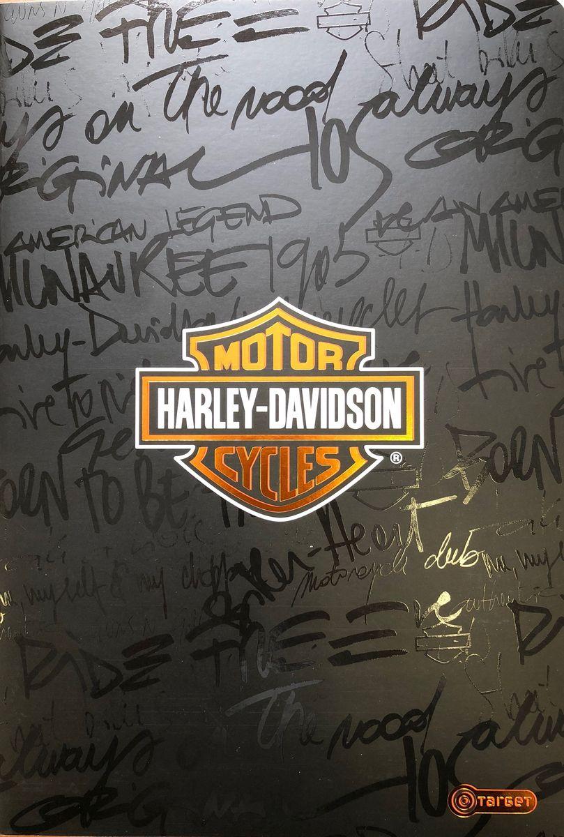 Harley-Davidson Тетрадь 52 листа без разметки цвет черный формат А410-1697_черныйТетрадь Harley-Davidson предназначена для ведения записей. Ее удобно использовать дляконспектов.Красивая и яркая обложка раскрасит студенческие будни. Внутренний блокпредставлен 52 листами и скреплен скрепками.