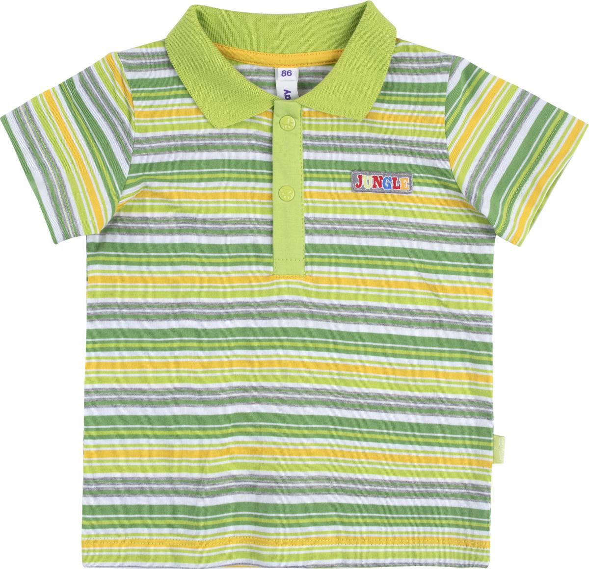 Поло для мальчика PlayToday, цвет: мультиколор. 187062. Размер 98187062Поло PlayToday выполнено из натуральной хлопковой ткани. Модель с короткими рукавами и отложным воротником сверху застегивается на пуговицы.