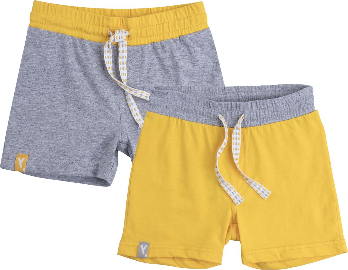 Шорты для мальчика PlayToday, цвет: желтый, серый, 2 шт. 187061. Размер 86187061