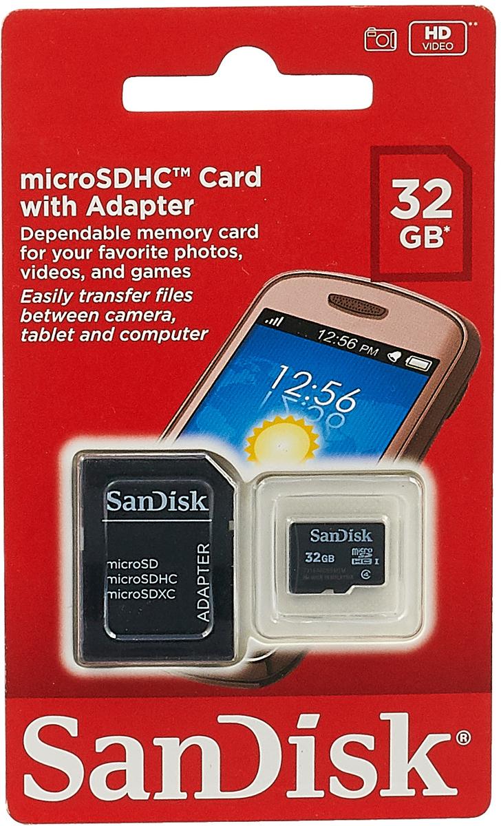 SanDisk microSDHC Class 4 32GB карта памяти с адаптеромSDSDQM-032G-B35AКарты памяти SanDisk microSDHC Class 4 обеспечивают высокую скорость (не менее 4 МБ/с, поддержка класса 4) при работе с фотографиями, видео и приложениями на мобильном телефоне или планшете.Входящий в комплект поставки адаптер SD позволяет легко переносить файлы с ПК на мобильный телефон или планшет - теперь вы можете раскрыть все функциональные возможности ваших гаджетов!