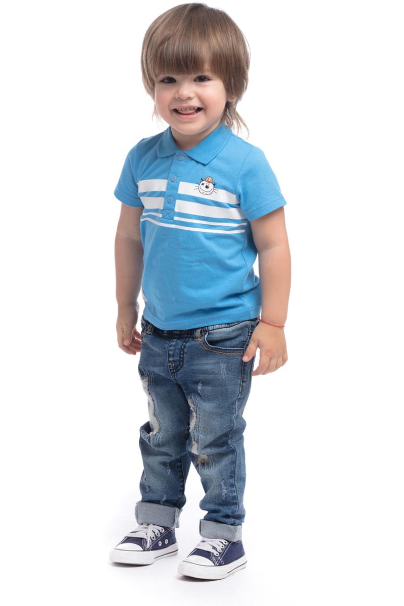Поло для мальчика PlayToday, цвет: голубой, белый. 187022. Размер 86