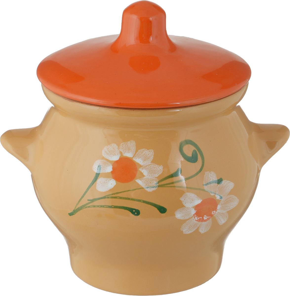 Горшок для запекания Борисовская керамика Cтандарт, с крышкой, 650 млОБЧ00000343_оранжевые крышки