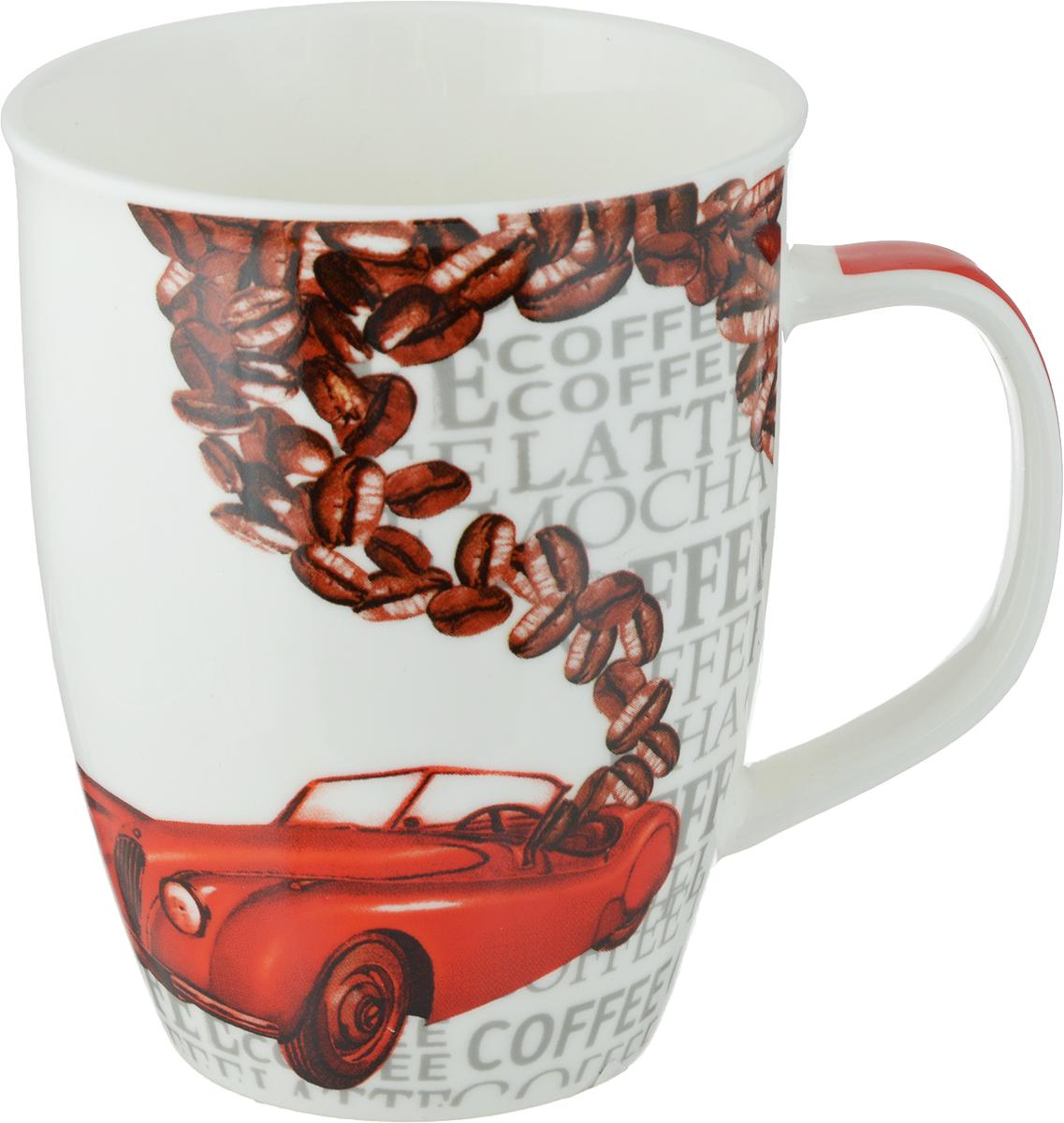 Кружка Loraine Автомобиль, цвет: красный, 340 мл