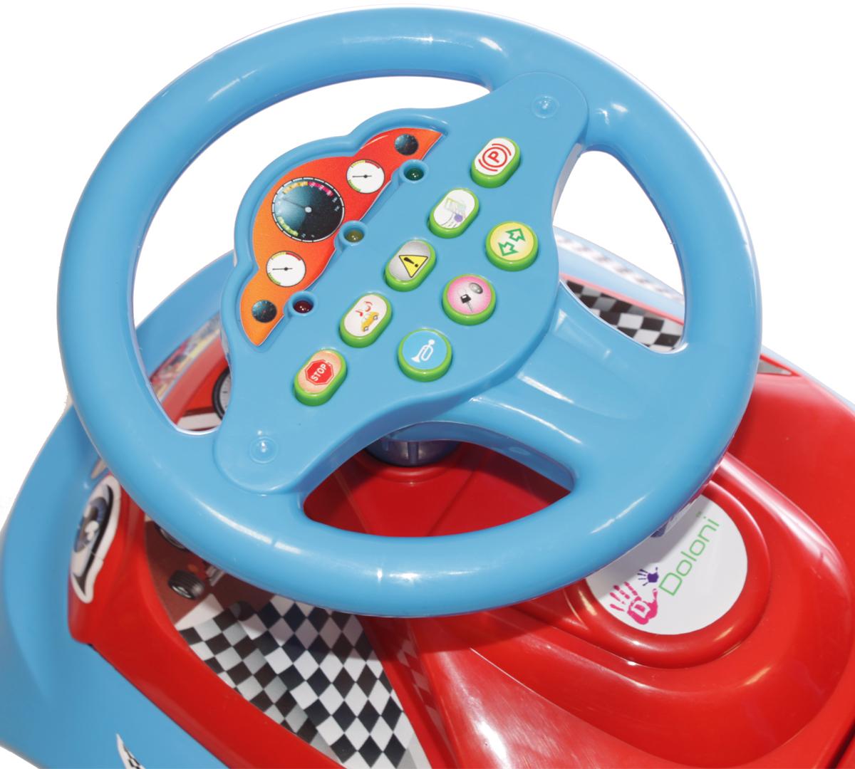 DoloniМашинка-каталка с музыкальным рулем Автошка, цвет синий красный Doloni
