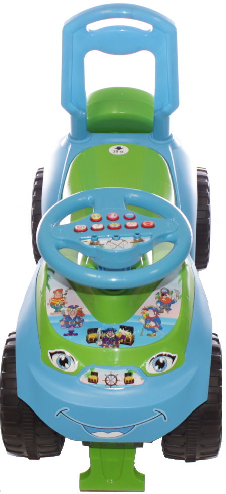 Doloni Машинка-каталка с музыкальным рулем Автошка, цвет голубой зеленый