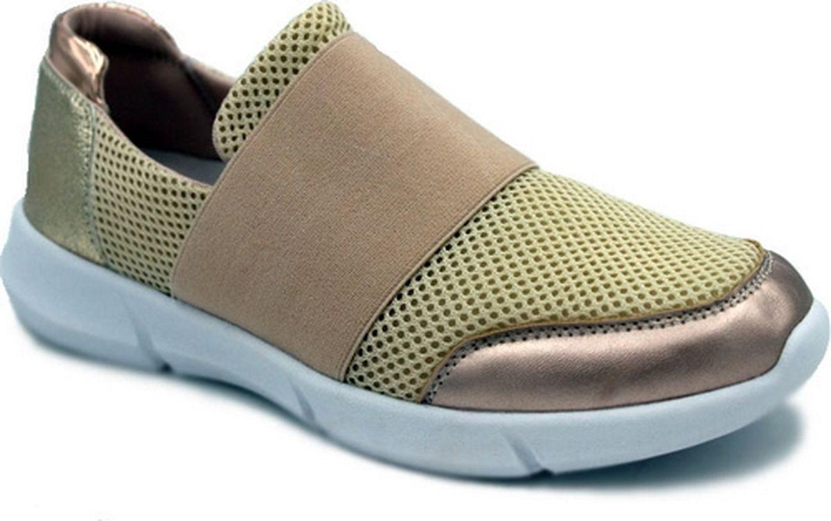 Кроссовки для девочки Зебра, цвет: золотой. 12485-14. Размер 3512485-14Эластичный верх; Облегченная подошва; стелька из натуралбной кожи съемная, профилированная