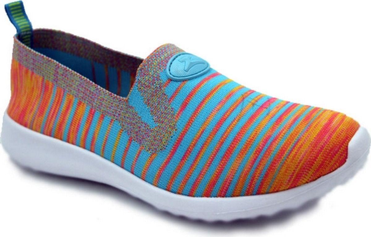 Кроссовки для девочки Зебра, цвет: оранжевый, голубой. 12211-18. Размер 33