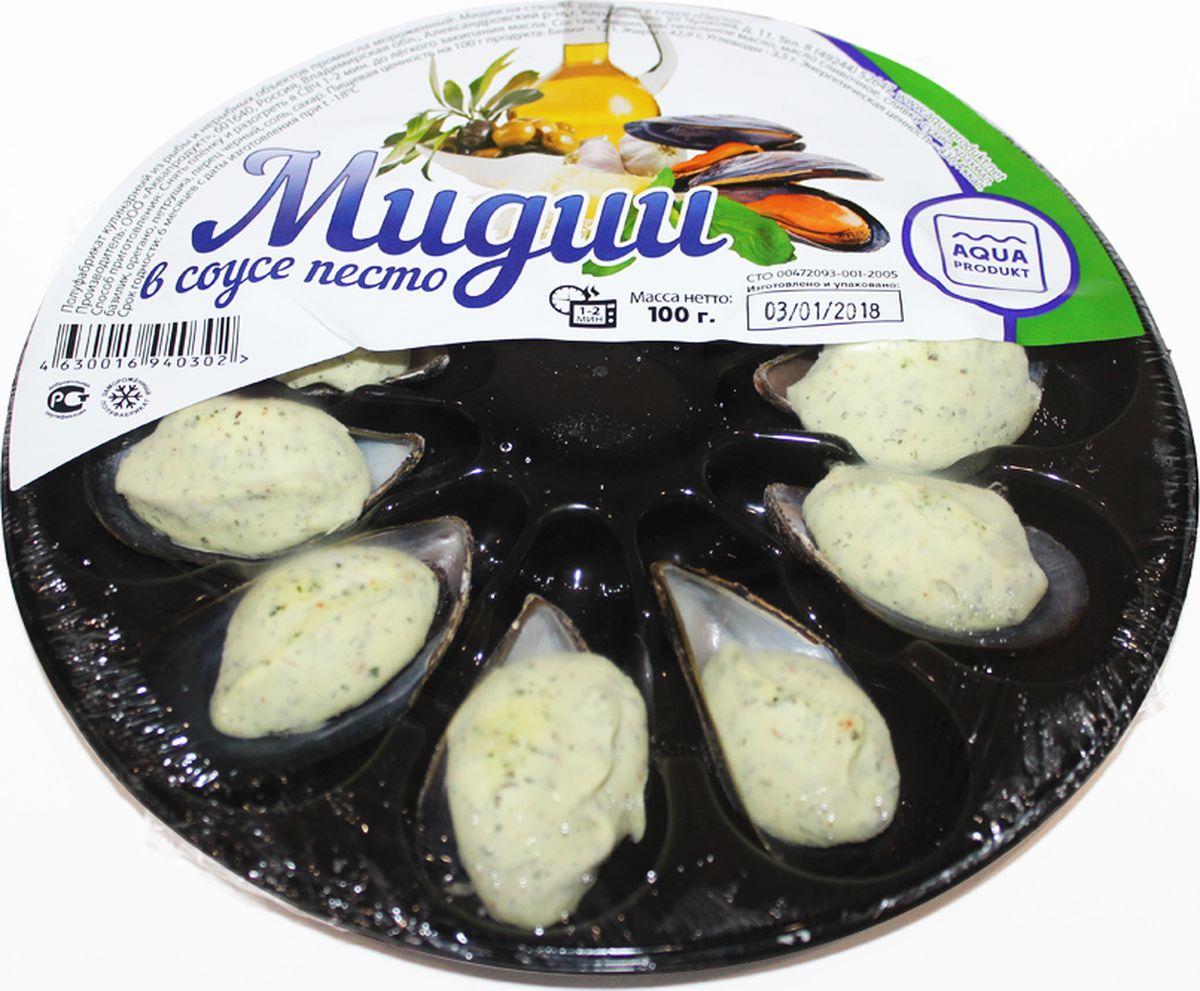 Аквапродукт Мидии на створке раковины в соусе Песто, 100 г