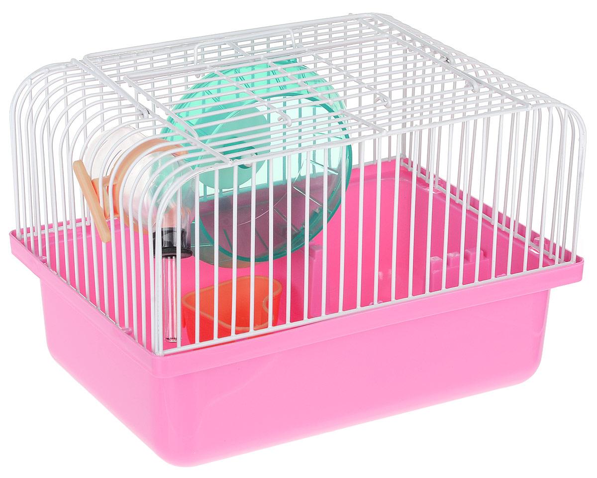 Переноска-клетка для мелких грызунов №1, цвет: розовый, 24 х 18 х 14 см клетка для грызунов i p t s mini с игровым комплексом 32 см х 20 см х 24 см