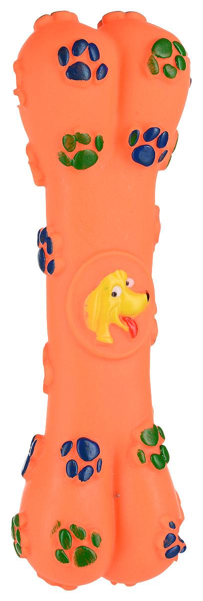 Игрушка для собак Уют Косточка с лапками, цвет: оранжевый 15,5 смИШ26_оранжевыйИгрушка для собак Уют Косточка с лапками, цвет: оранжевый 15,5 см