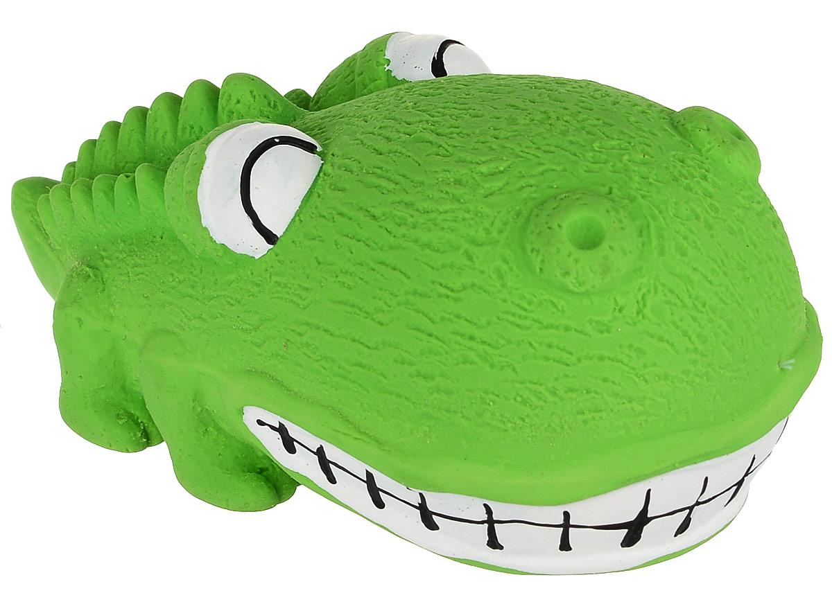 Игрушка для собак №1 Крокодильчик, с пищалкой, 8 см, цвет: салатовыйЛС82_салатовый