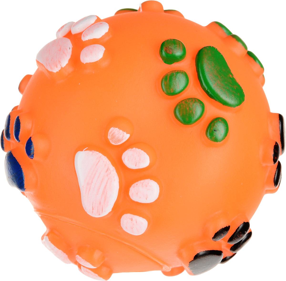 Игрушка для собак Уют Мяч лапки, цвет: оранжевый, 6,5 см игрушка для животных каскад удочка с микки маусом 47 см