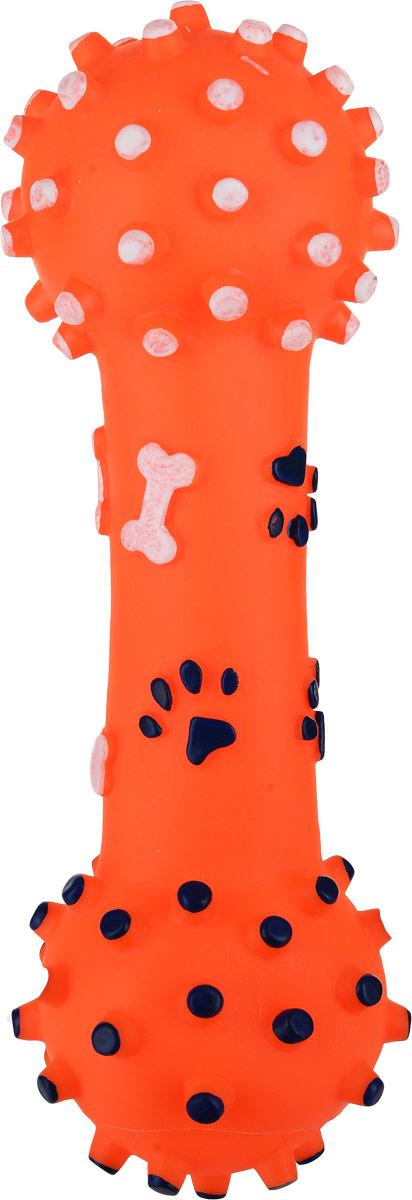 Игрушка для собак Уют Гантель большая, цвет: оранжевый, 26 см цена