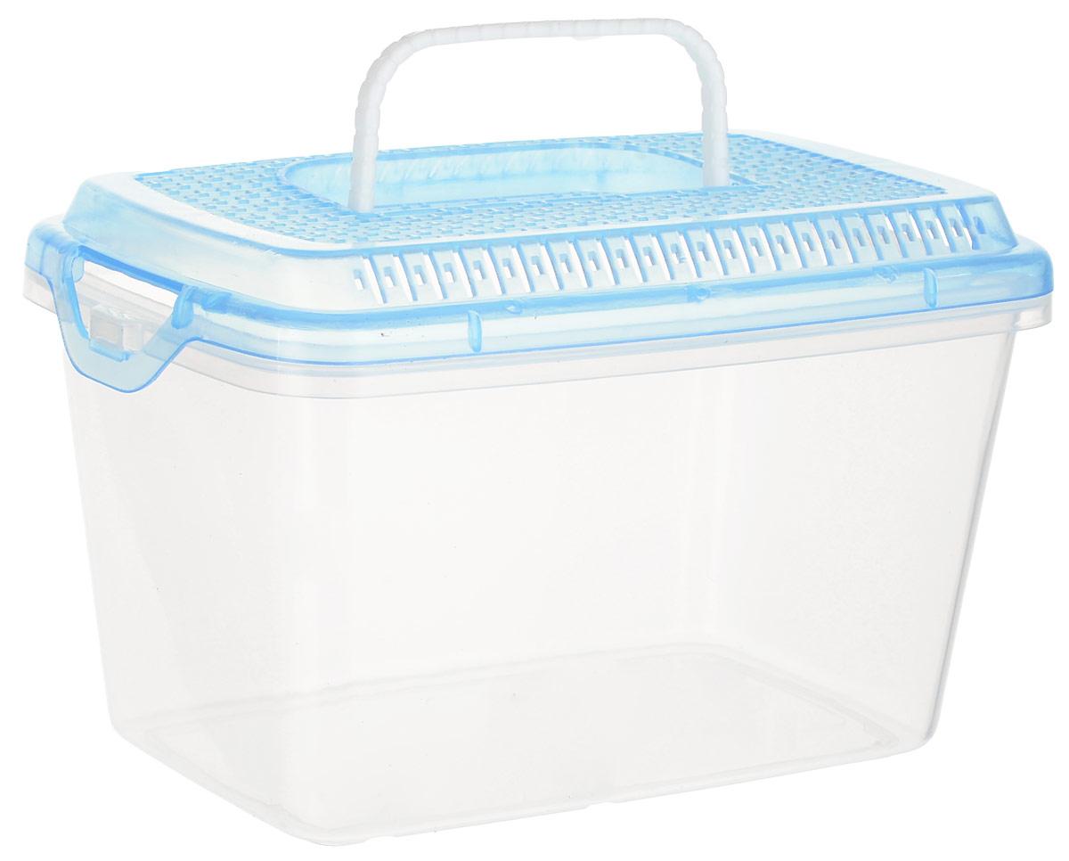 Переноска для мелких животных №1, пластиковая, размер S, цвет: прозрачный, голубой переноска дарэлл корзина 1 пластиковая 36 5 26 20