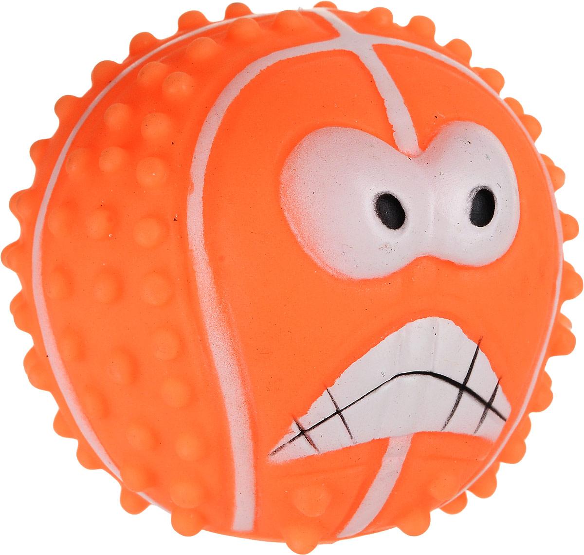 Игрушка для собак Уют Мяч с рожицей, цвет: оранжевый, 7 см уют
