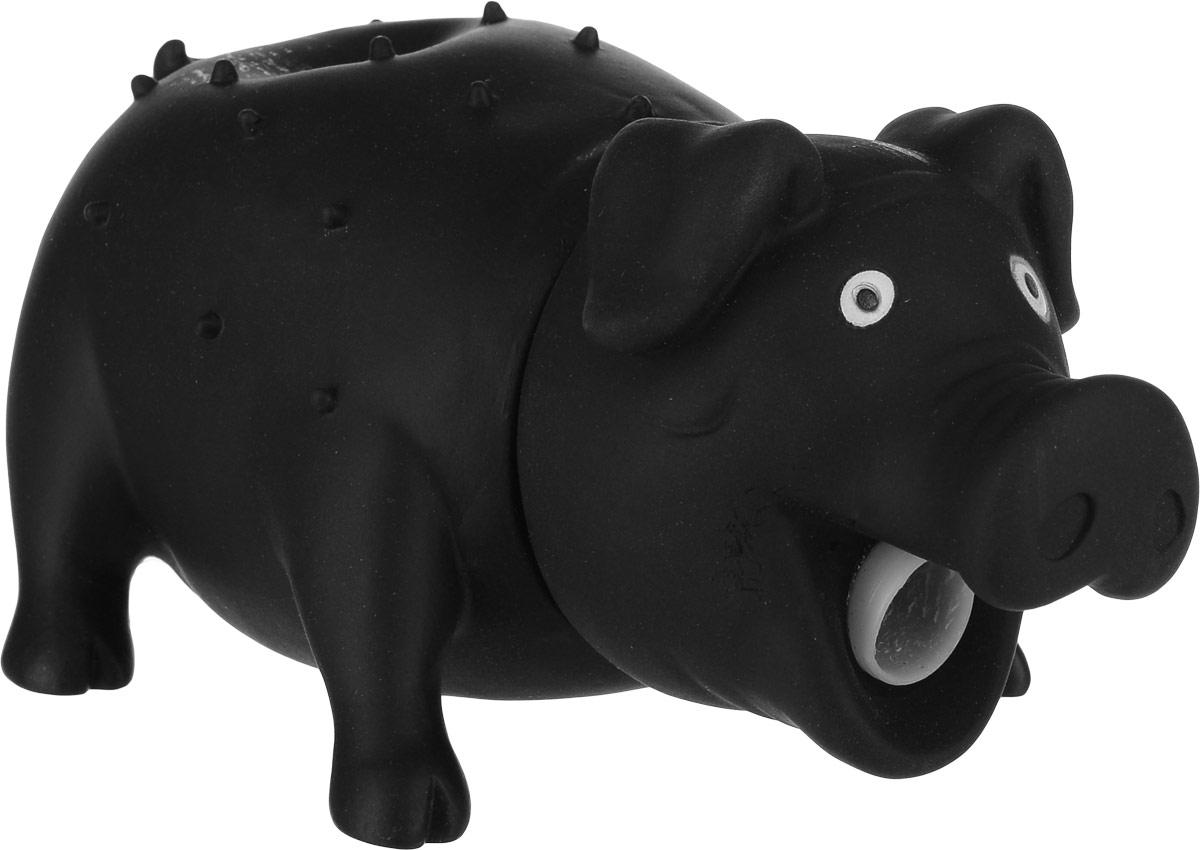 Игрушка для собак Уют Свинья, цвет: черный, 16 x 7 см игрушка для собак уют сыр с мышкой 11 x 5 см