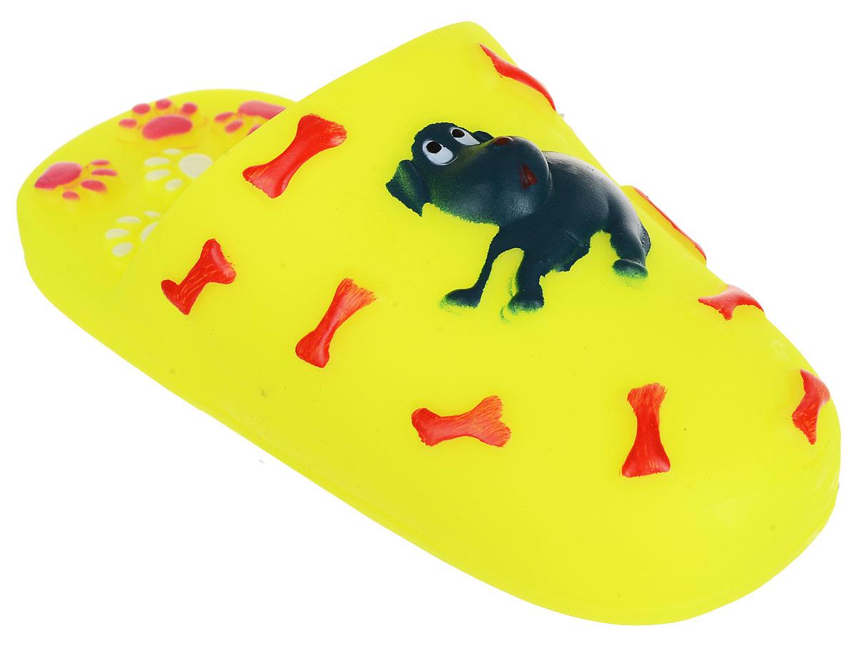 Игрушка для собак Уют Шлепанцы, цвет: кислотно-желтый, 15,5 x 6 см товары для дома
