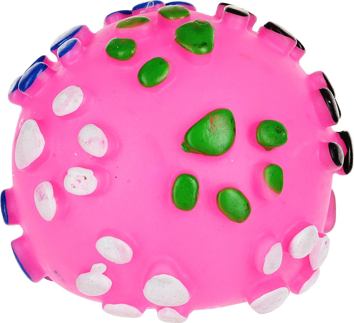 Игрушка для собак Уют Мяч лапки, цвет: розовый, 8,5 см товары для дома