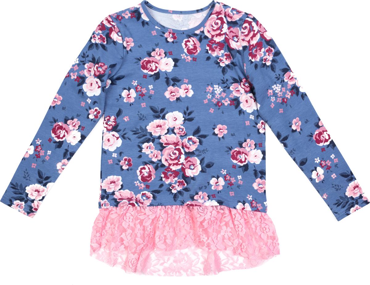 Футболка с длинным рукавом для девочки PlayToday, цвет: голубой, белый, светло-розовый. 182069. Размер 110182069Туника выполнена из натуральной набивной ткани. Низ оформлен легким кружевом. Модель с заниженной спинкой.