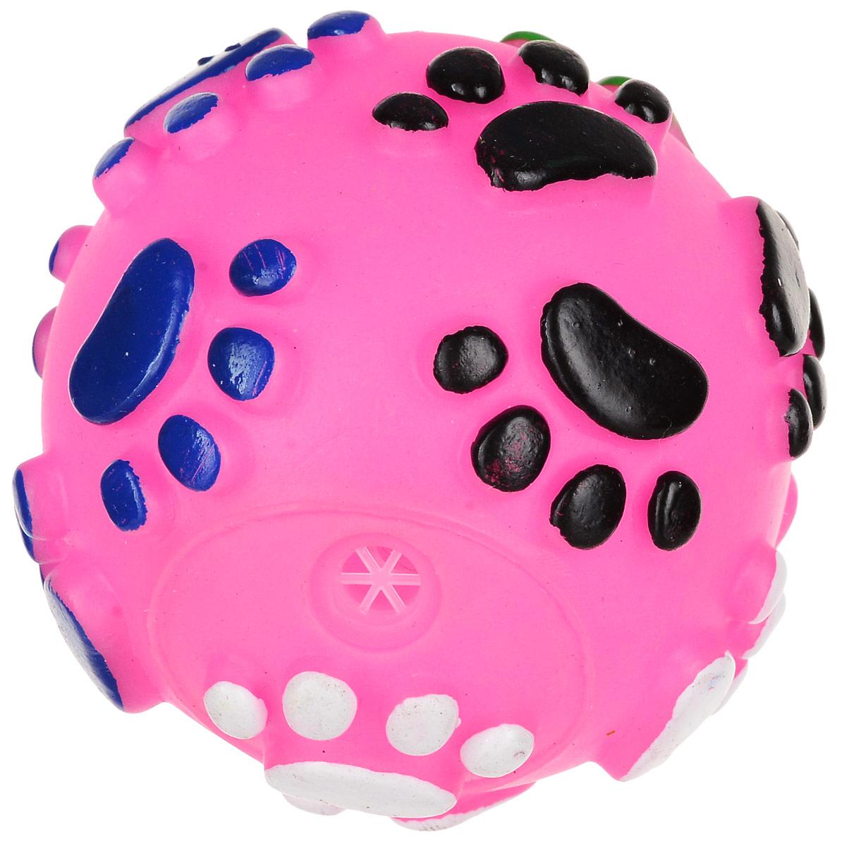 Игрушка для собак Уют Мяч лапки, цвет: розовый, 6,5 см игрушка для животных каскад удочка с микки маусом 47 см