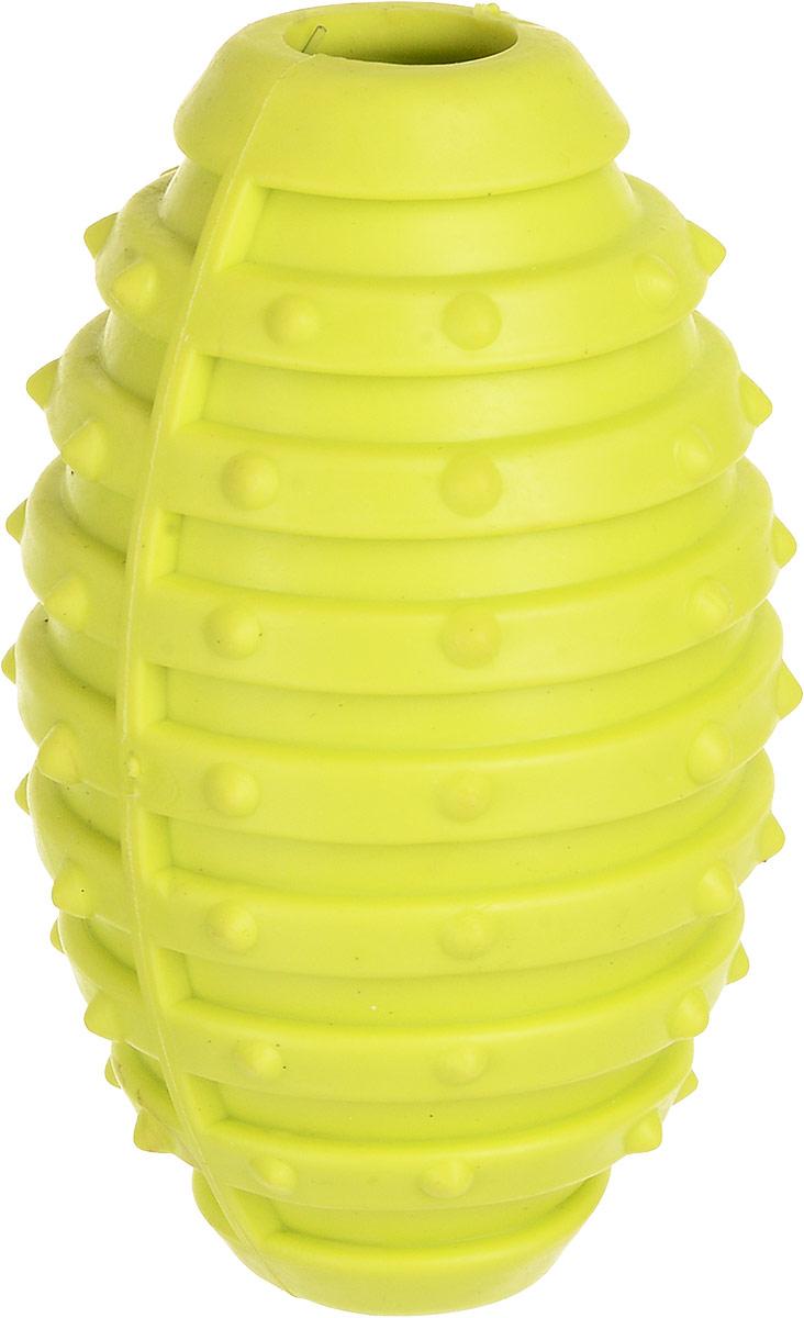 Игрушка для собак Уют Мяч для регби, цвет: салатовый, 10 см цена