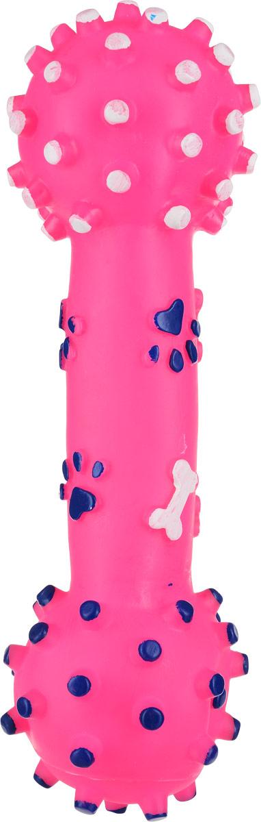 Игрушка для собак Уют Гантель большая, цвет: розовый, 26 см когтерез для животных уют цвет желтый 14 см