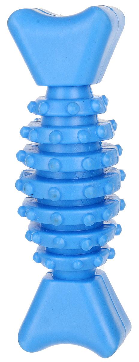 Игрушка для собак Уют Гантель-косточка с шипами, цвет: голубой, 12 см игрушка для собак dezzie косточка