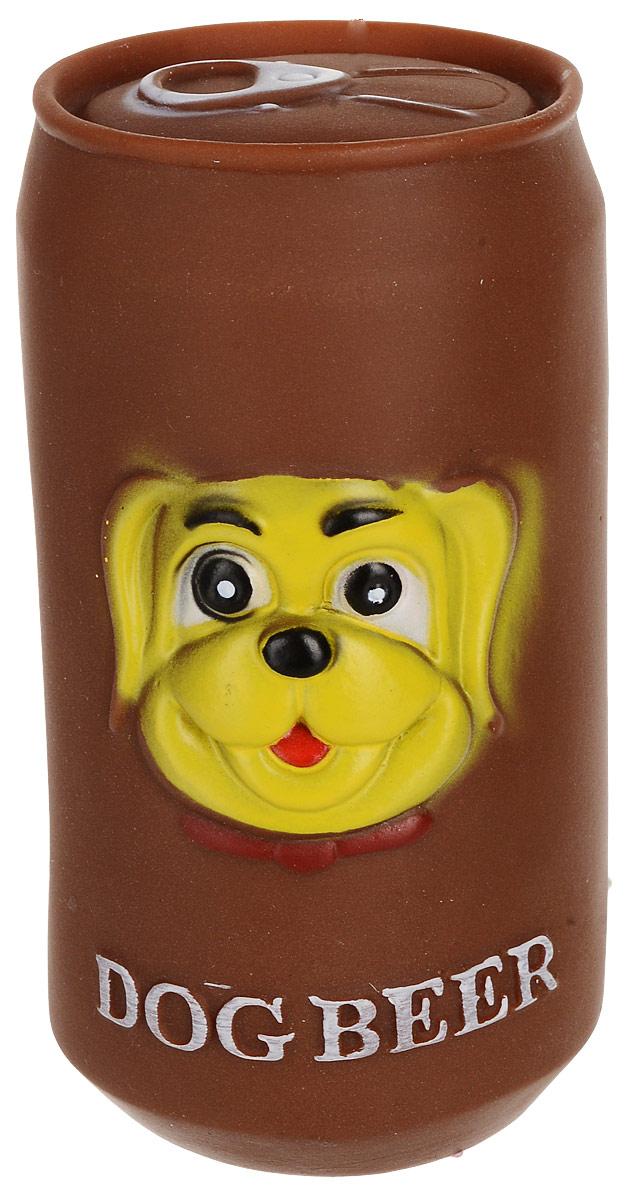 Игрушка для собак Уют Банка, цвет: коричневый, 11,5 x 6,5 см уют