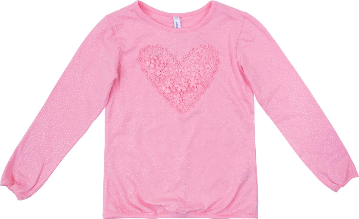 Футболка с длинным рукавом для девочки PlayToday, цвет: светло-розовый. 182070. Размер 110182070Футболка с длинным рукавом выполнена из натурального хлопка. Ткань с мелким глиттерным принтом. Горловина, манжеты и низ изделия на мягких трикотажных резинках.