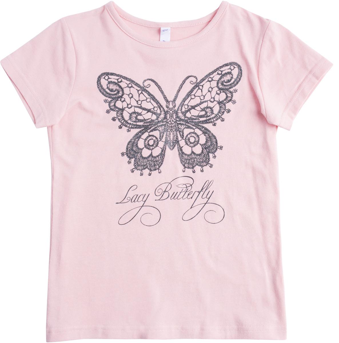 Футболка для девочки PlayToday, цвет: светло-розовый. 182114. Размер 110182114Футболка выполнена из натуральной хлопковой ткани. Горловина оформлена мягкой трикотажной резинкой. В качестве декора использован яркий глиттерный принт с эффектом вышивки.