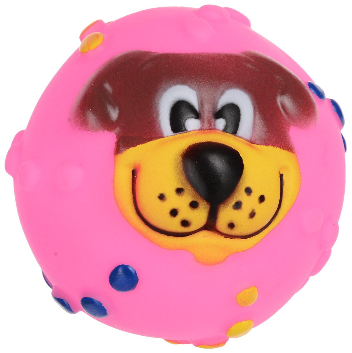Игрушка для собак Уют Мяч собака, цвет: розовый, 6,5 см трикси игрушка для собак собака 28 см