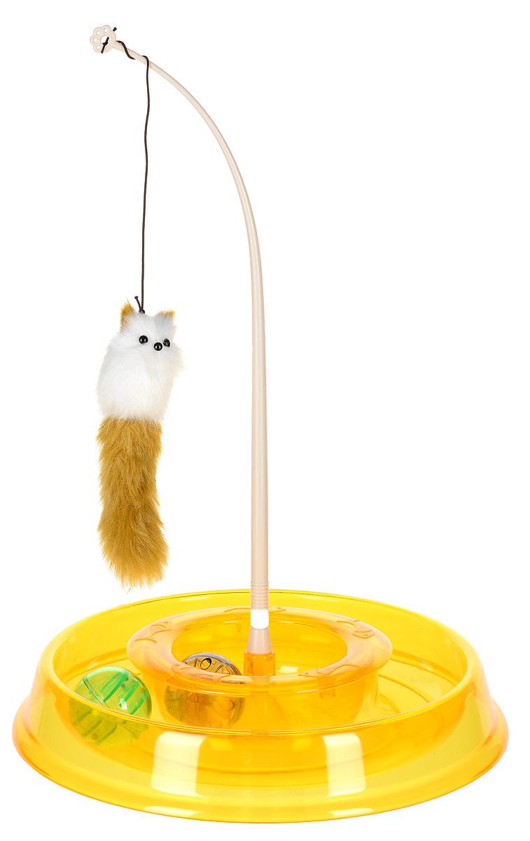 Игрушка для кошек №1 Лабиринт, с двумя мячиками и дразнилкой, 28 x 5 x 28 см, цвет: желтый 159 1 5 962737