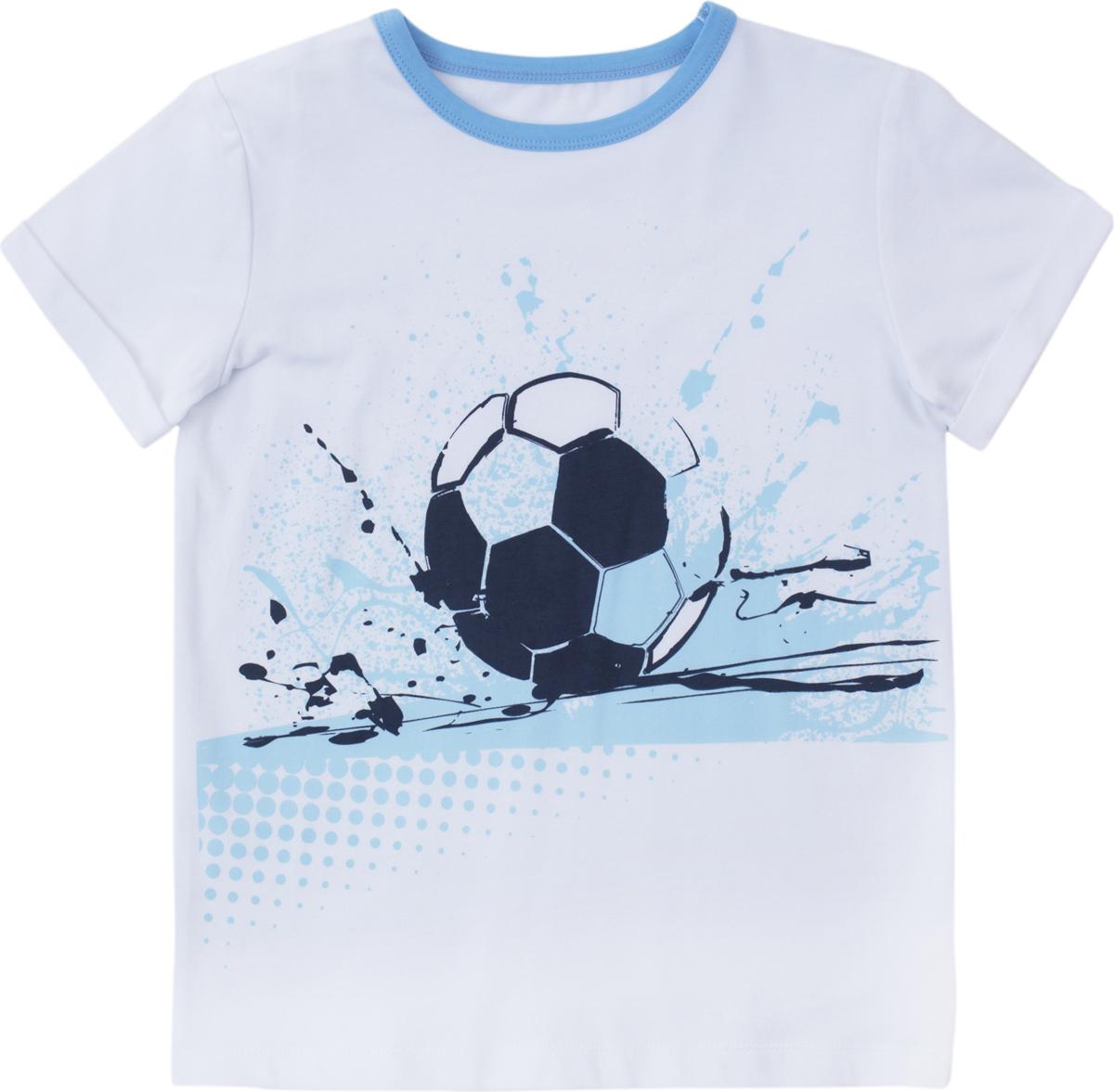 Футболка для мальчика PlayToday, цвет: голубой, белый, синий. 181019. Размер 116181019Футболка с коротким рукавом. Аккуратные швы не вызывают раздражений. Горловина модели на мягкой трикотажной резинке. Футболка дополнена ярким принтом.