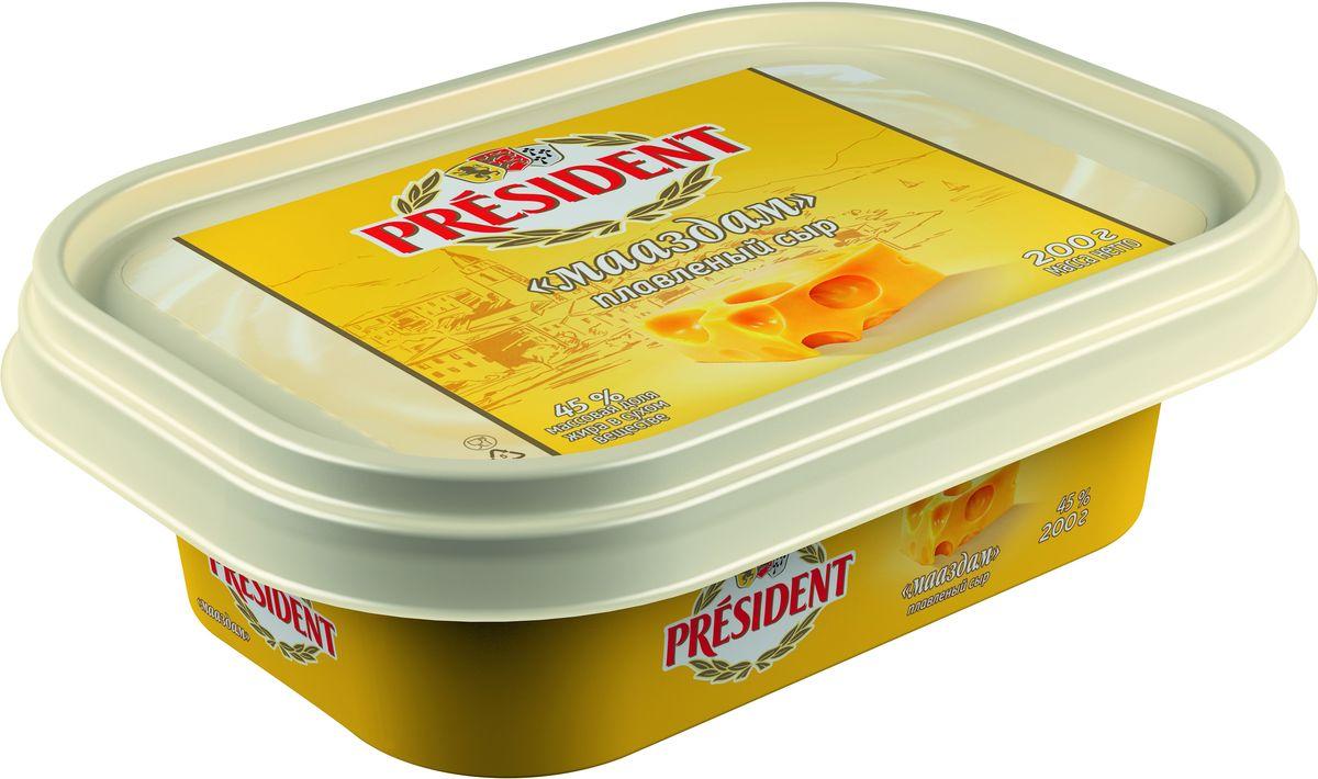President Сыр Мааздам плавленый 45%, 200 г27205Сыр President в ванночке превосходно подходит для вкусного, быстрого и сытного завтрака, сочетаясь с мясными и рыбными нарезками, зеленью и овощами.