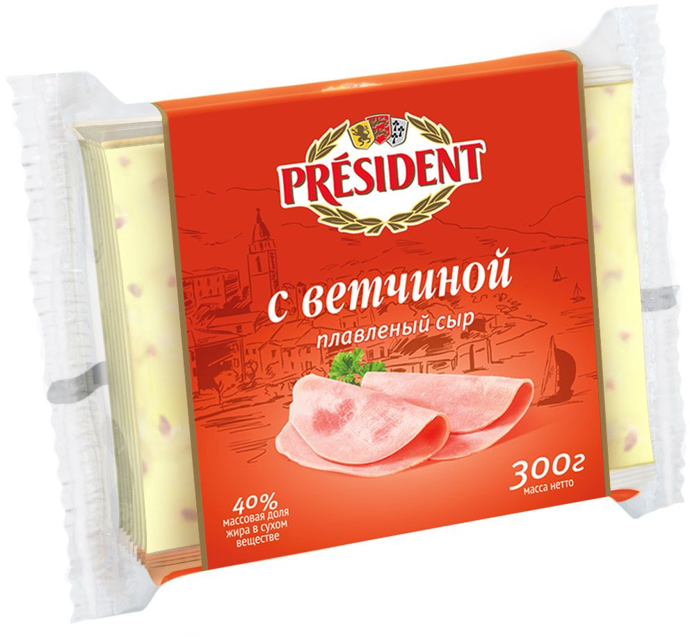 President Сыр с Ветчиной плавленый ломтики 40%, 300 г лукашинские баклажаны по крымски с томатами 460 г