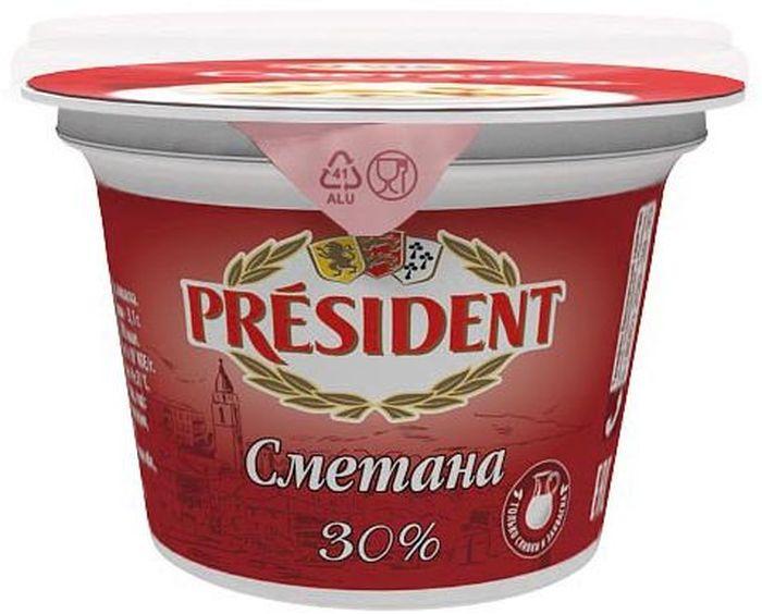 PresidentСметана 30%, 180 г Густая нежная сметана President с приятной кислинкой и кремовой...