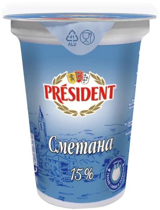 President Сметана 15%, 350 г ростагроэкспорт сметана 15